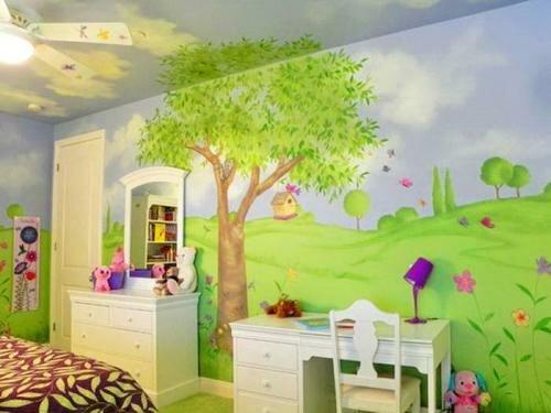 Роспись стен детской комнаты для девочки своими руками