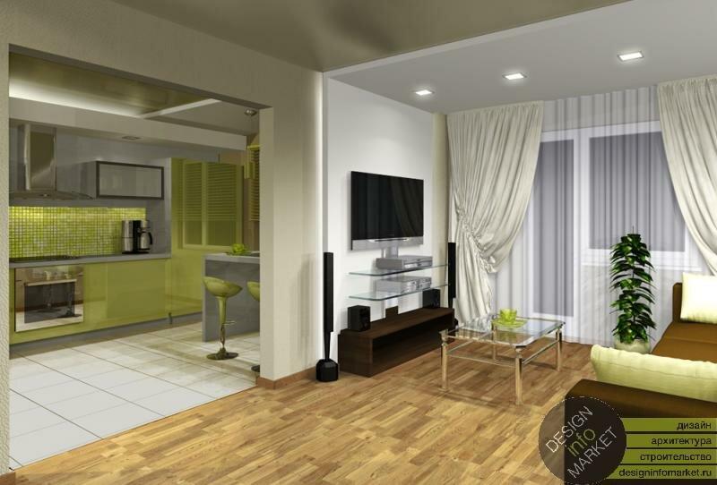 Дизайны кухонь переходящие в гостиную