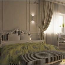 Частный дом, интерьер спальни в классическом стиле.